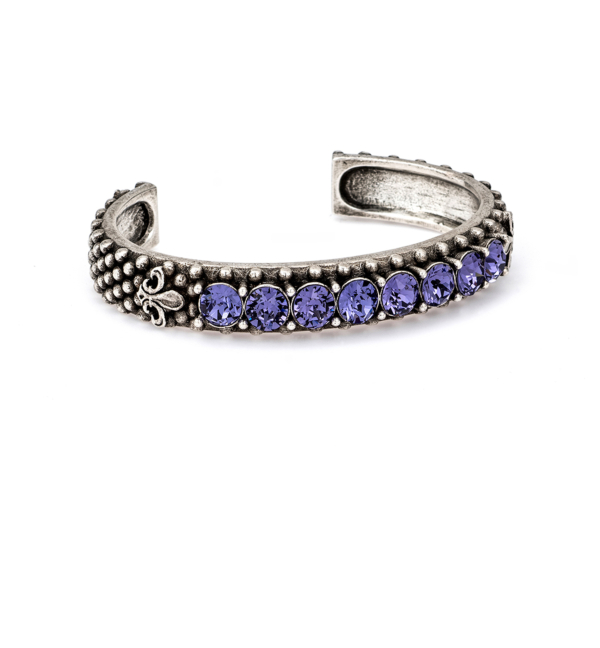 TANZANITE SWAROVSKI FLEUR DE LIS BANGLE