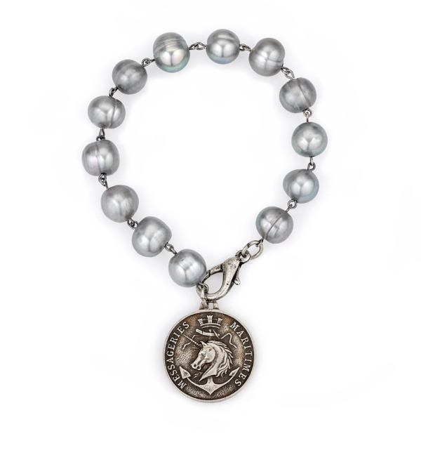 SILVER PEARLS WITH COLONIES MEDALLION