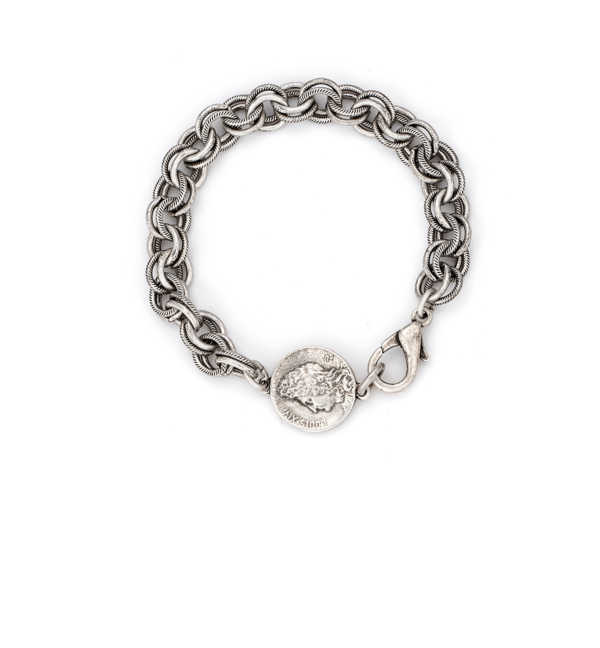 PROVENCE CHAIN WITH MINI LOUIS MEDALLION SILVER