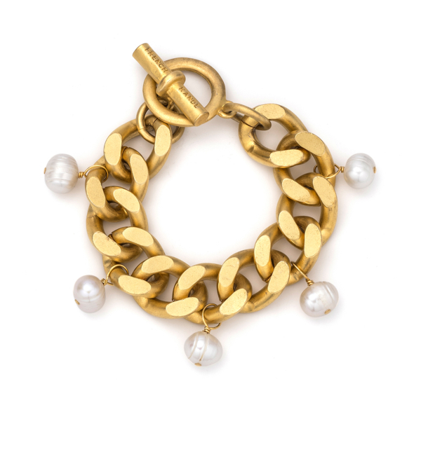 GOLD BEVEL CHAIN WITH PEARL DANGLES