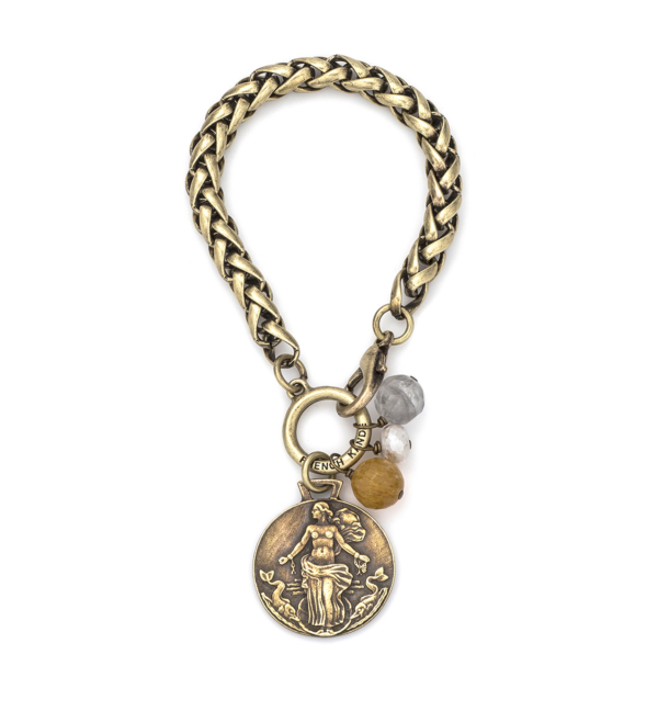 ALSACE CHAIN WITH GOLDEN MIX DANGLES AND LE HAVRE MEDALLION