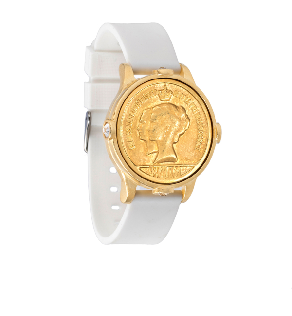 WHITE & GOLD SPORT KANDE BRACELET WITH MONACO MEDALLION