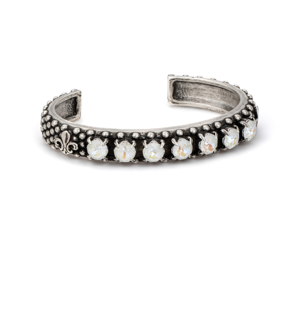 LIGHT GREY DELITE SWAROVSKI FLEUR DE LIS BANGLE