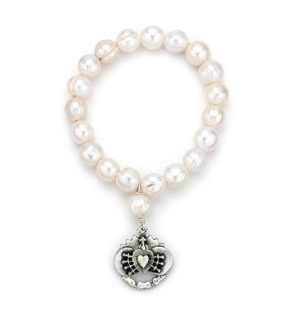 SINGLE STRAND WHITE PEARL WITH IMMACULATE HEART DANGLE