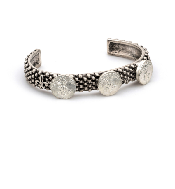 MIXED SILVER FEROU CUFF WITH L'ANGE MEDALLIONS