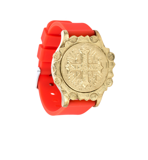 CORAL RED SPORT KANDE BRACELET WITH SAINT BENEDICT MEDALLION