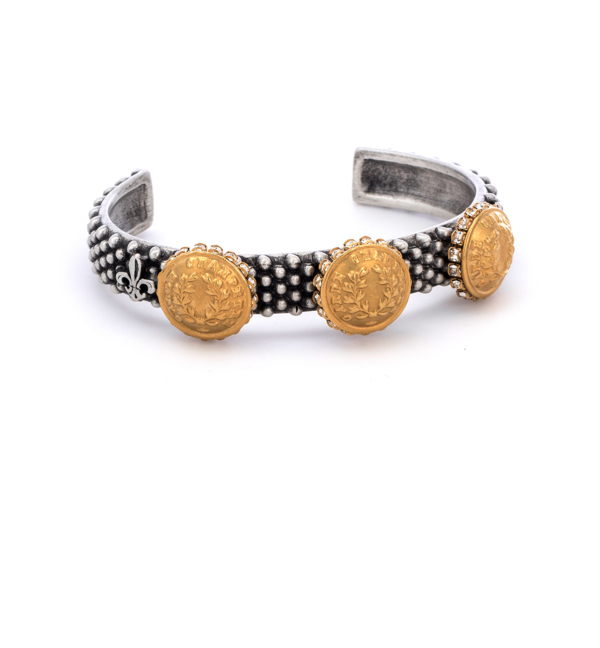 OXED FEROU CUFF WITH 14K GOLD RURALE MEDALLIONS AND SWAROVSKI