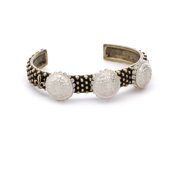 OXED FEROU CUFF WITH MATTE SILVER RURALE MEDALLIONS AND SWAROVSKI