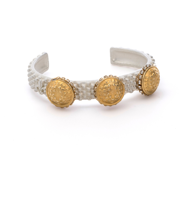 FEROU CUFF WITH 14K GOLD RURALE MEDALLIONS AND SWAROVSKI