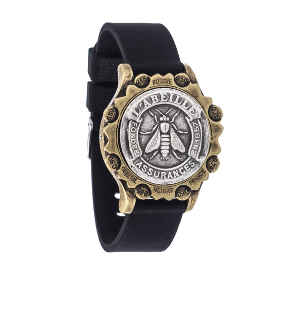 BLACK OXED SPORT KANDE BRACELET WITH ABEILLE MEDALLION