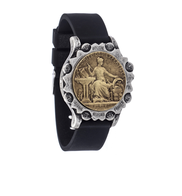 BLACK OXED SPORT KANDE BRACELET WITH COMITE MEDALLION