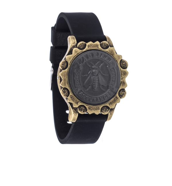 BLACK OXED SPORT KANDE BRACELET WITH GRAPHITE ABEILLE MEDALLION