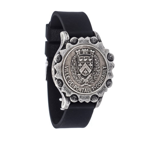 BLACK OXED SPORT KANDE BRACELET WITH VOYAGEUR MEDALLION