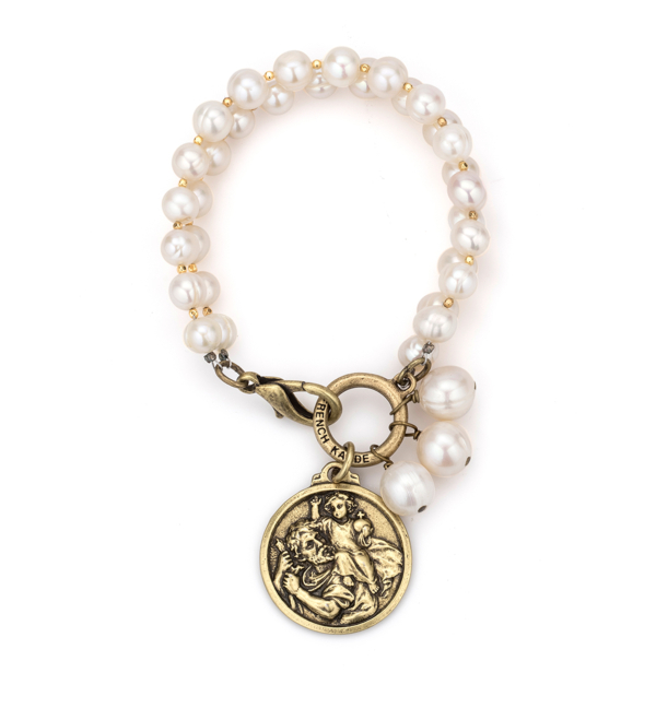 DOUBLE STRANDED WHITE PEARL AND HEISHI WITH ST. CHRISTOPHER MIKO MEDALLION