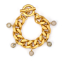 GOLD BEVEL CHAIN WITH AFRICAN OPAL DANGLES