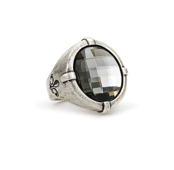 SIGNET RING WITH BLACK DIAMOND CHECKERBOARD SWAROVSKI CABOCHON
