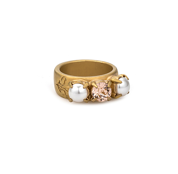 GOLD TRIPLE SWAROVSKI & PEARL RING