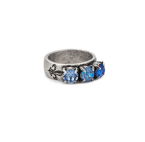 TRIPLE SWAROVSKI DENIM MIX RING