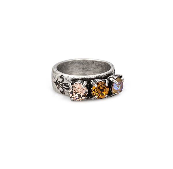 TRIPLE SWAROVSKI GOLDEN MIX RING
