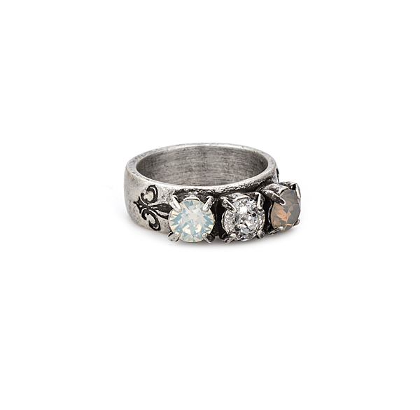 TRIPLE SWAROVSKI LINEN MIX RING