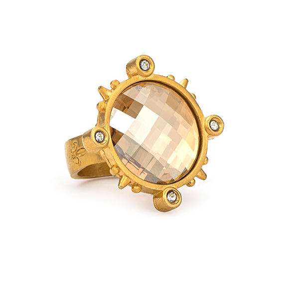 GOLD SPIKED RING WITH GOLDEN SHADOW SWAROVSKI
