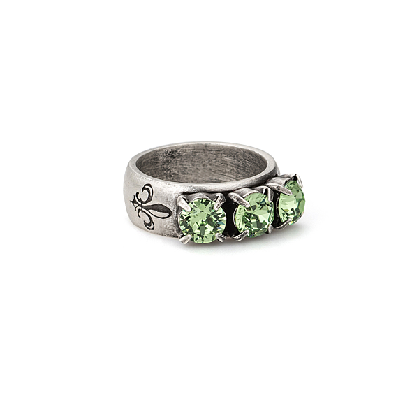 PERIDOT TRIPLE SWAROVSKI RING