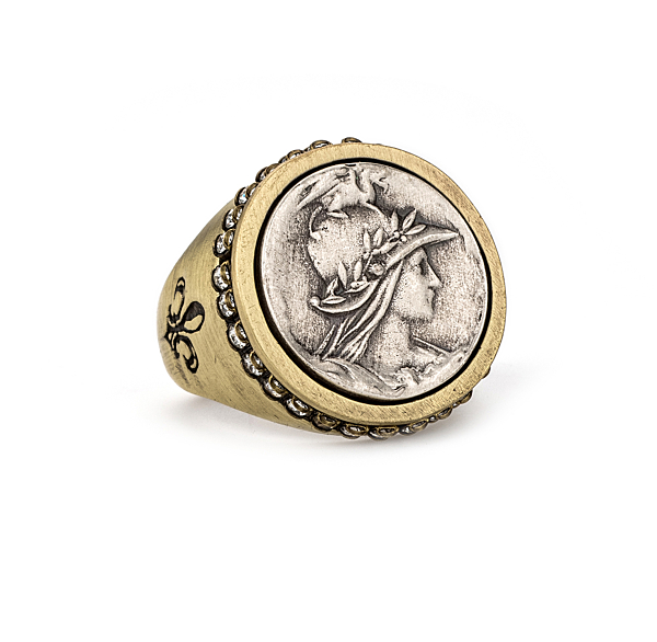 BRASS SWAROVSKI SIGNET RING WITH MINI MINISTRY MEDALLION