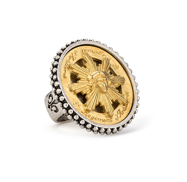 POINTE BEZEL RING WITH GOLD SUN KING MEDALLION