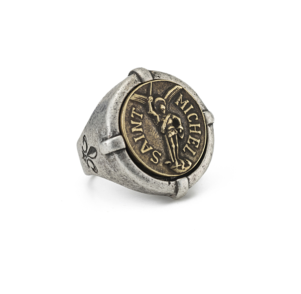 SIGNET RING WITH MINI SAINT MICHEL MEDALLION