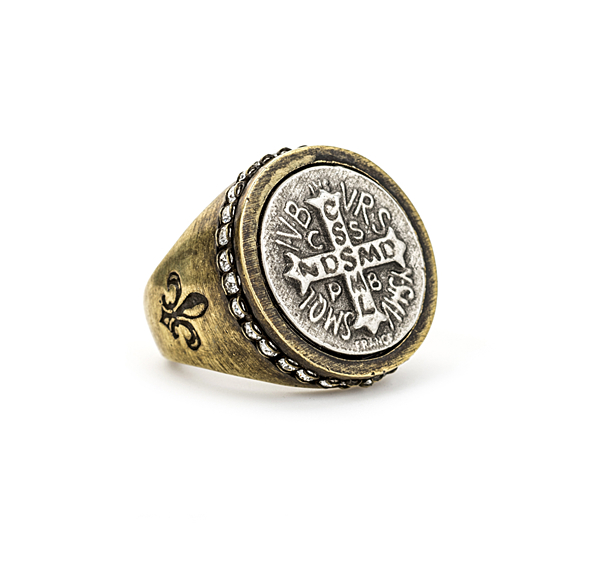 MIXED METAL SWAROVSKI SIGNET RING WITH MINI SAINT BENEDICT MEDALLION