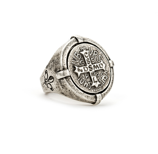 SIGNET RING WITH MINI SAINT BENEDICT MEDALLION