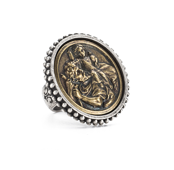POINTE BEZEL RING WITH ST. CHRISTOPHER-MIKO MEDALLION