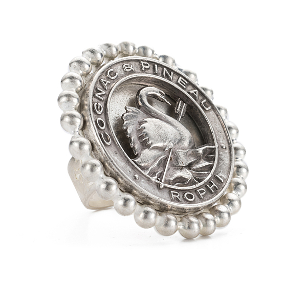 PETITE BEZEL RING WITH PINEAU MEDALLION