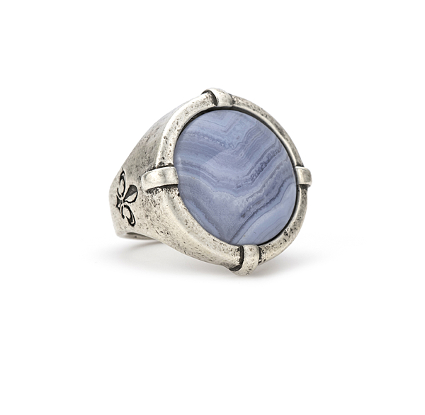 SILVER SIGNET RING WITH BLUE LACE CABOCHON