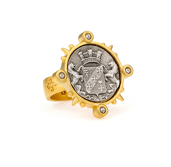 SPIKED RING WITH MAILLY MEDALLION