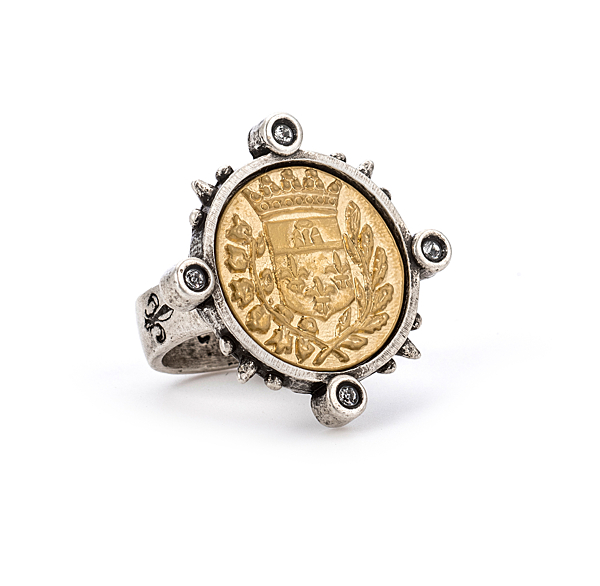 SPIKED RING WITH 24K GOLD GUSTAVE MEDALLION