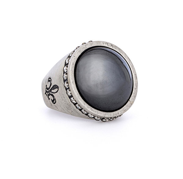 SILVER SWAROVSKI SIGNET RING WITH HEMATITE