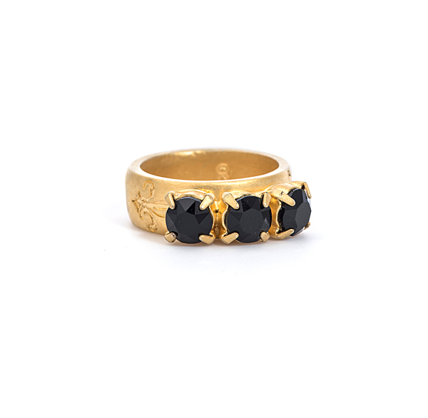 JET 14K GOLD TRIPLE SWAROVSKI RING