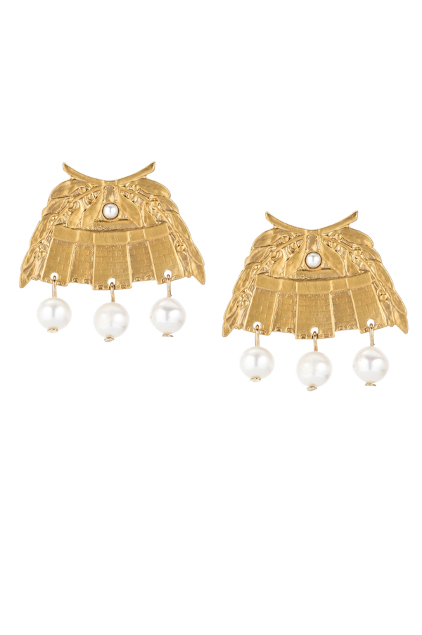 24K GOLD CHATEAU EARRINGS WITH WHITE PEARL DANGLES