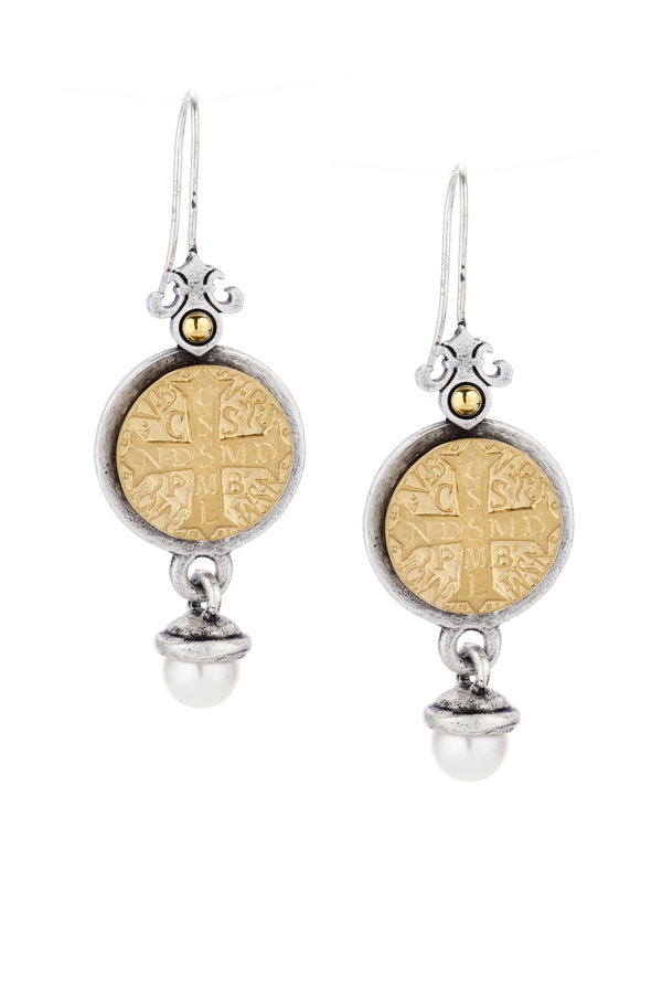 PREFERE EARRINGS WITH 24K GOLD MINI SAINT BENEDICT MEDALLION AND PEARL DANGLE