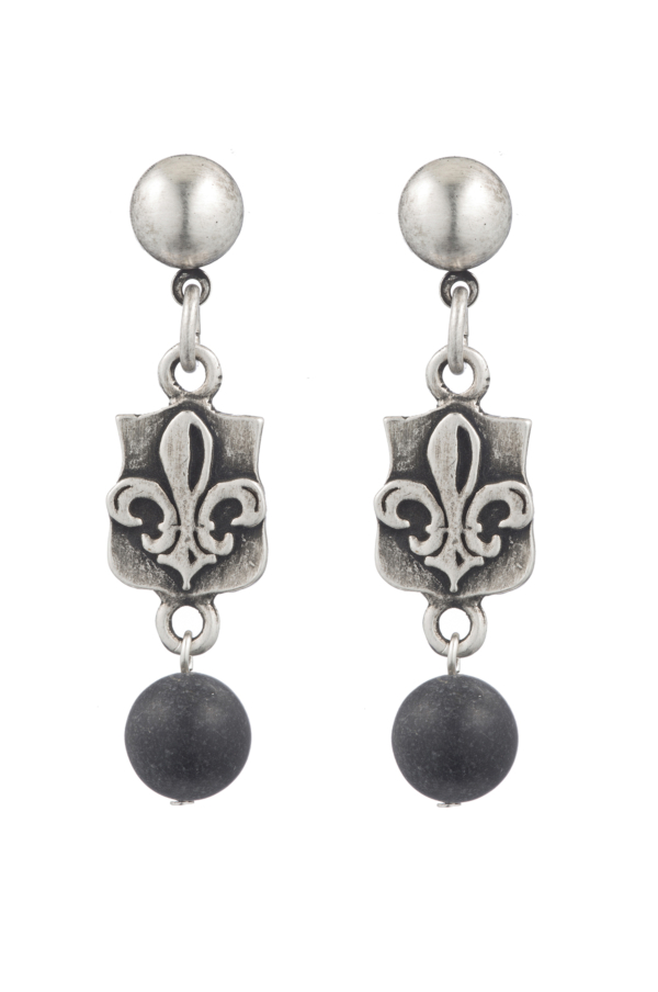 SILVER MINI FLEUR DES LIS MEDALLION WITH BLACK JASPER