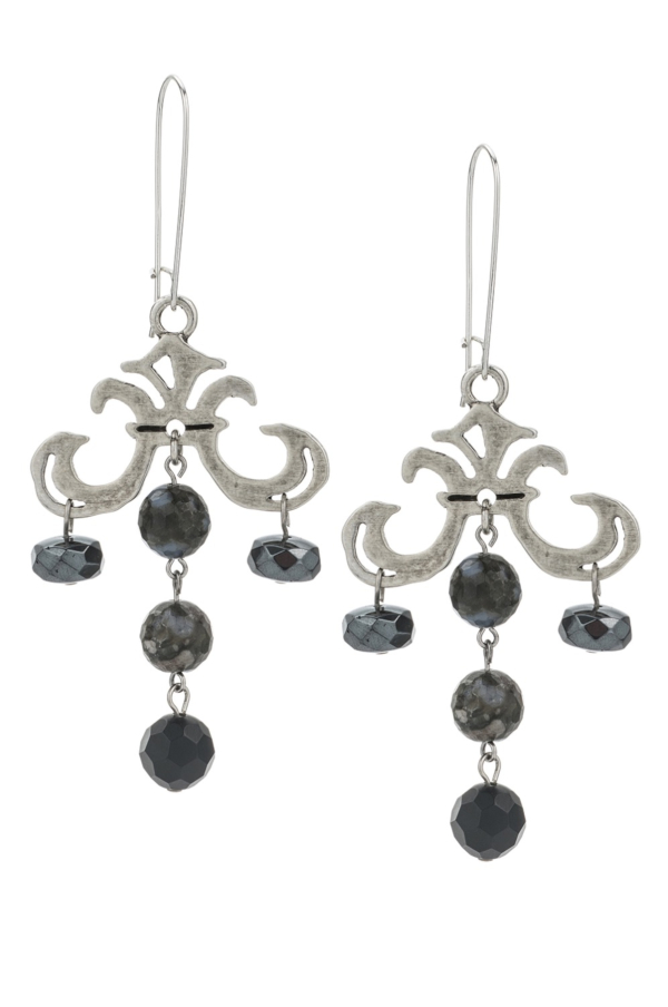 GRAND FLEUR DROP EARRINGS WITH NUIT MIX DANGLES