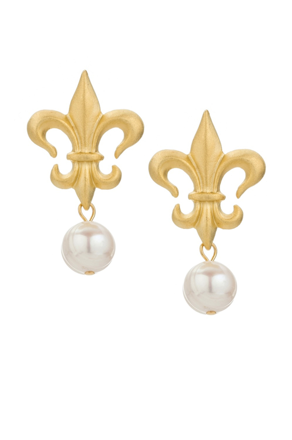 FK FLEUR STUDS WITH PEARL DANGLE