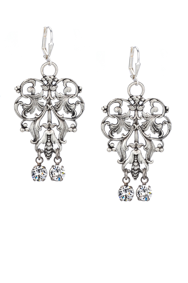 FRENCH FILIGREE EARRINGS WITH SWAROVSKI DANGLES