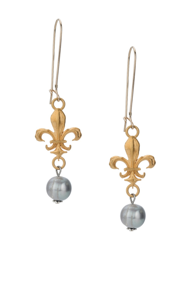 DROP EARRINGS WITH FK FLEUR CONNECTORS AND SILVER PEARL