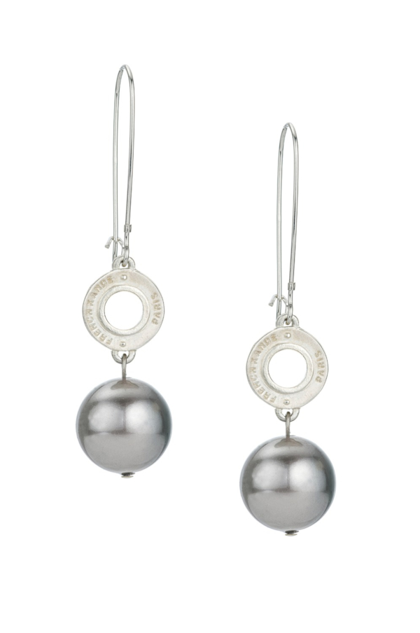 PETITE ANNECY AND CHARCOAL PEARL EARRINGS