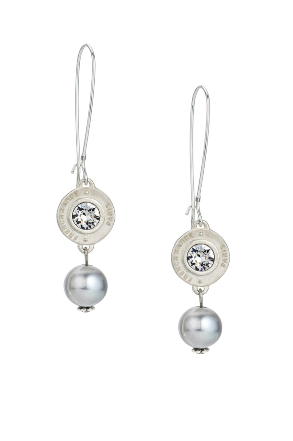 PETITE SWAROVSKI ANNECY AND SILVER PEARL EARRINGS