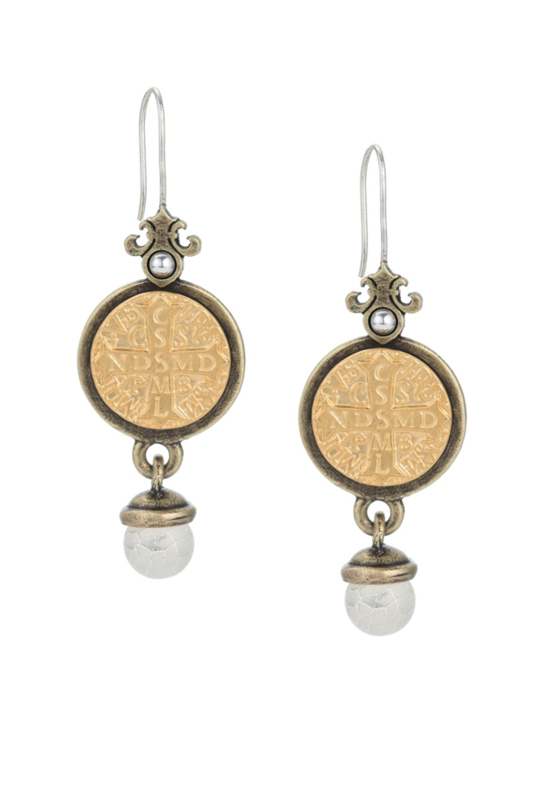 PREFERE EARRINGS WITH SAINT BENEDICT MEDALLION AND WHITE FIRE AGATE DANGLE