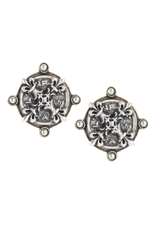OREILLE EARRINGS WITH SILVER X MEDALLION