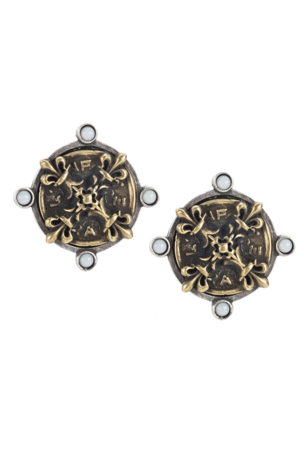 OREILLE EARRINGS WITH BRASS X MEDALLION